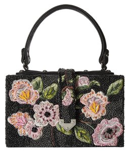Mary Frances Floral Coquette Beaded Faux Leather Evening Black Clutch