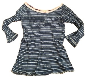 Hollister Striped T Shirt Blue & White