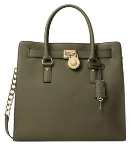 Michael Kors Hamilton Leather Tote in Olive