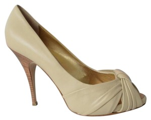 Giuseppe Zanotti Beige Leather Peep Toe Cream Pumps