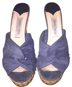 Jimmy Choo Denim Wedge Sandal Blue Wedges