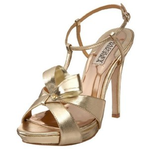 Badgley Mischka Leather T-strap Stiletto Gold Platforms