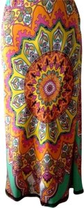 Tibi Boho Tribal Silk Tulip Shape Skirt Tangerine/Multicolored