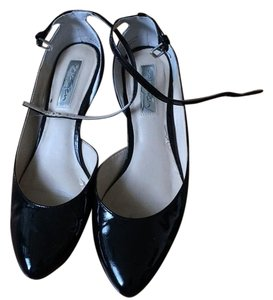 Halogen Faux Leather Patent black Flats