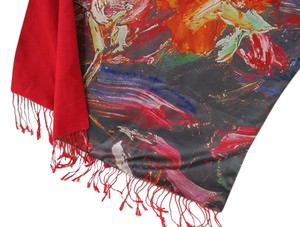 Other Red Multi-color Floral Reversible Scarf
