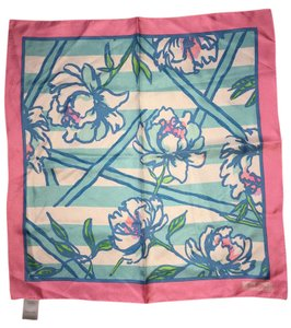Lilly Pulitzer Sutton Square Silk Scarf in Shorely Blue Tossing the Lines