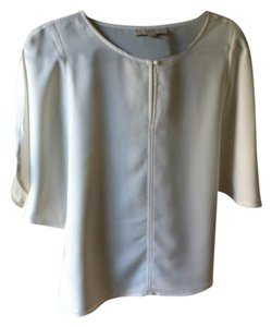 Ann Taylor LOFT Crepe Look Tailored Top Cream