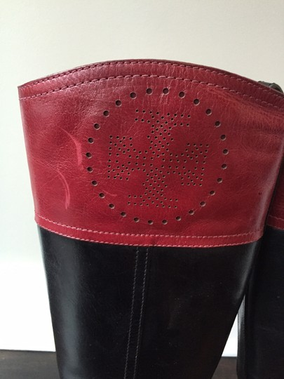 Tory Burch Leather Black and Maroon Boots