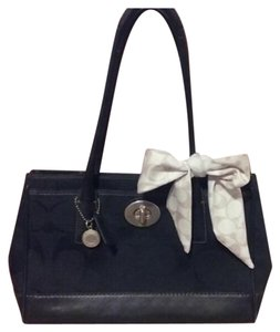 Coach Satchel Tote in Black Canvas with Black Leather Trim