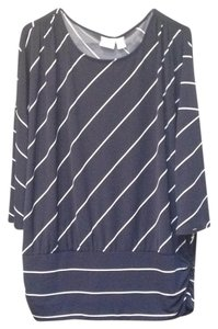Chico's Striped Three Quarter Sleeve Sweater