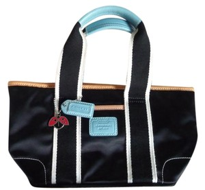 Coach Tote in Black, White, Turquoise, Tan