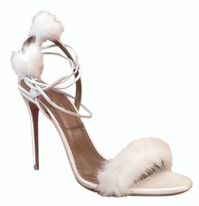 Aquazzura Fur Satin Pompoms Ankle Strap Ankle Wrap White Sandals