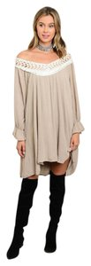 short dress Taupe and Cream Peasant Crochet Bell Sleeve on Tradesy