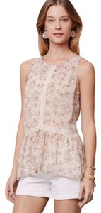 Anthropologie Lace Inserts High-low Hem Top Nude