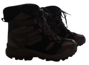 Merrell Snow Hiking Lace Up Faux Fur Black Boots