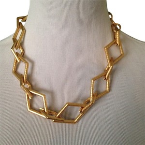 Kenneth Jay Lane Hammered Golden Rhombus Link Necklace
