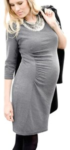 Séraphine Gray Marl Ruched Knitted Dress