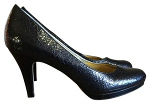 Anne Klein Black Alligator Platforms