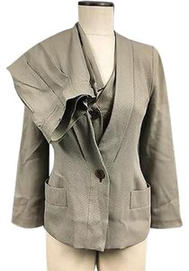 Giorgio Armani Giorgio Armani Gray Blazer With Button Up Vest And Straight Leg Pant 2762a