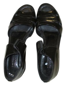 Donald J. Pliner Patent Sandal Slip-on Platform Patent Black Wedges