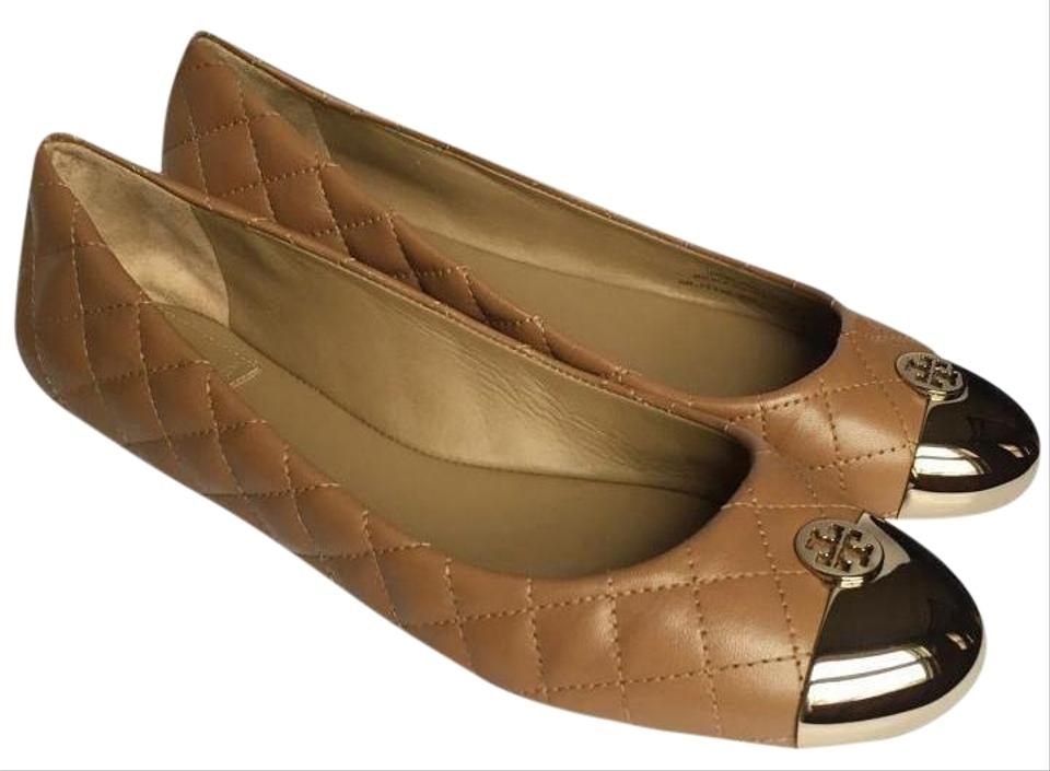 a576fc51943a Tory Burch Beige Gold Kaitlin Ballet Quilted Leather Flats Size US 8 ...