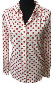Boden Button Down Shirt white ,red polka dot
