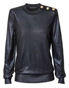 Balmain x H&M Shiny Longsleeve Top Dark blue