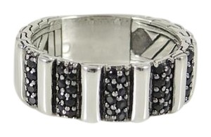 John Hardy John Hardy Men's Sterling Silver Bedeg Black Sapphire Lava Band Ring