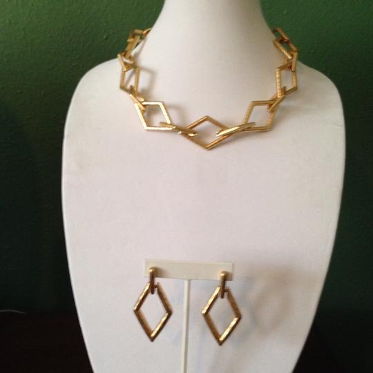 Kenneth Jay Lane KJL Hammered Golden Rhombus Earrings Only! Matching Necklace Sold Seperately.