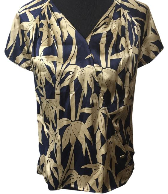Item - Navy Blue Cream Silk New with Tag Blouse Size 10 (M)