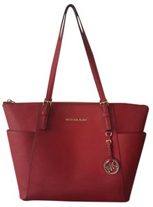 Michael Kors Jet Set Leather Goldtone Tote in Red