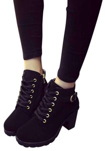 YesStyle Chunky Gold Hardware Winter Black Boots
