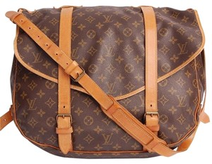 Louis Vuitton Saumur Cross Body Monogram Canvas Brown Messenger Bag