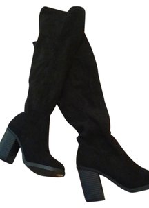 New Look Thigh High Suede Roomy Black Boots