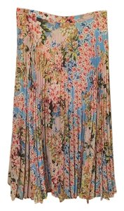 Topshop Floral Pleated Skirt Multi