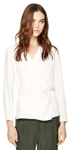 Wilfred Wrap Front-wrap V-neck Tie Belt Top white