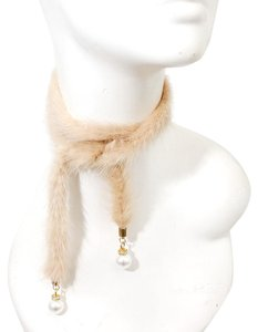 Genuine Fur Pearl Accent Wrap Necklace