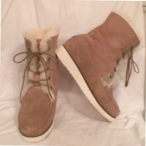 Australia Luxe Collective Sheepskin Suede Leather Lace Ups Sand (Tan) Boots
