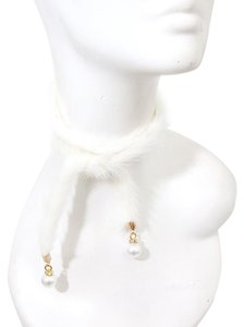 White Fur Pearl Accent Wrap Necklace