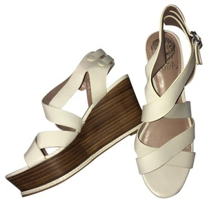 Vince Camuto White/Wooden Wedges