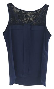 Express Lace Pleats Silk-like Fabric Top Navy & Black