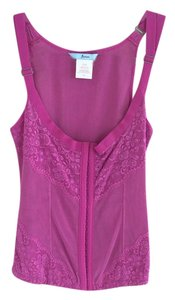 Marciano Lace Hooks Stretch Mesh Top Hot Pink