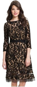 Tadashi Shoji short dress Peach and black lace on Tradesy