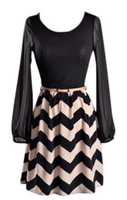 Preload https://img-static.tradesy.com/item/19953/blacktaupe-chevron-knee-length-short-casual-dress-size-4-s-0-0-650-650.jpg