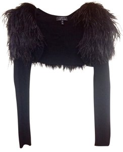 Robert Rodriguez Shrug Bolero Feather Top Black