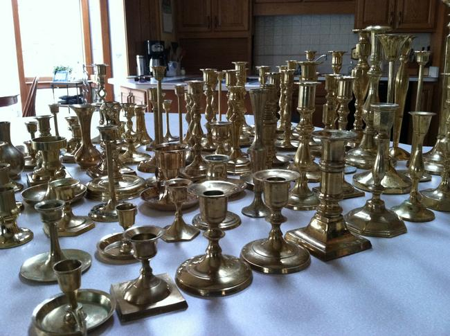 Item - Brass Set Of 82 Candlesticks Centerpiece