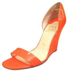 Christian Louboutin Neon Patent Leather Orange Wedges