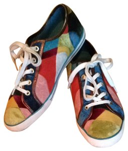 Coach Suede Sneakers Denise Patchwork Suede Size 8 Multi Patchwork Athletic