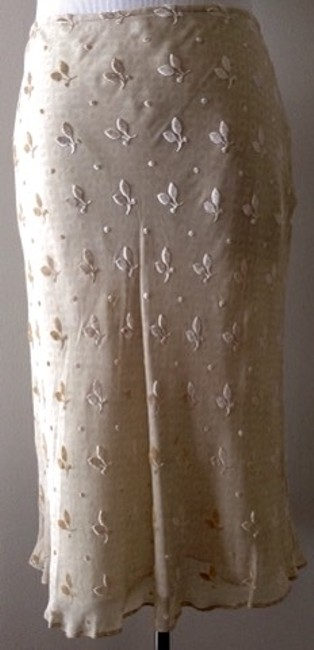 DKNY Bias Cut Silk Skirt Cream