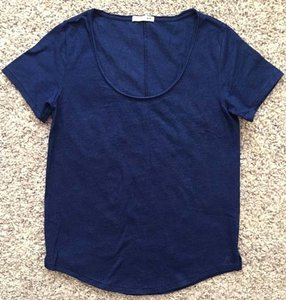 Rag & Bone Hem Blue Round Neck Short Sleeve T Shirt Indigo Navy